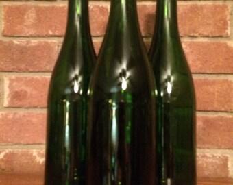 Empty Clean Green Wine Bottles