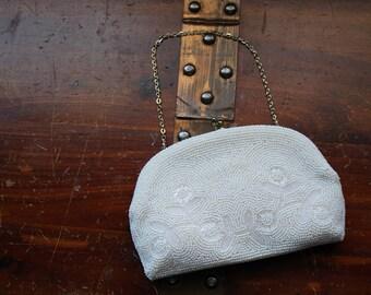 Vintage Retro 1960s SHARONEE Made in Japan Pearly White Seed Bead Purse Handbag Small