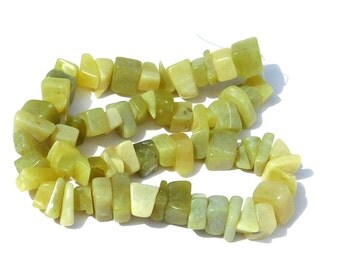 Natural Olive Green New Jade Stone Chip Beads, Full Strand, Light Green, DIY Beading Supply, Jewelry Making