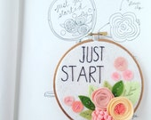 Embroidery Hoop  Art - coral and peach - motivational wall art - just start