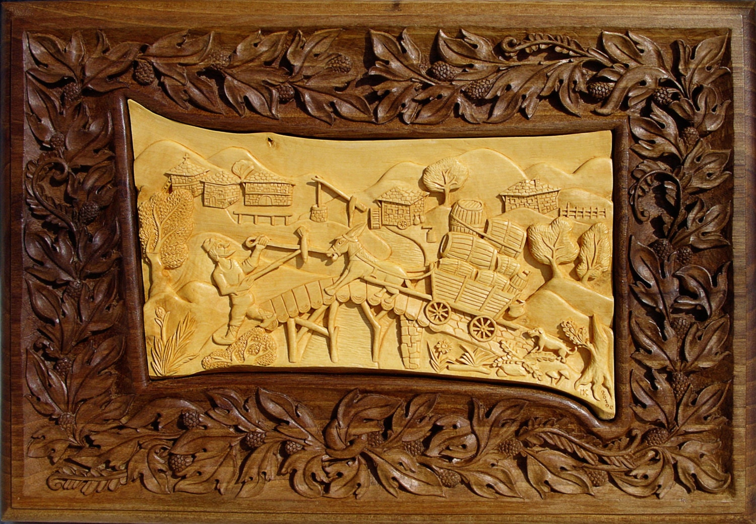 Wall art wood carving decor rustic cabin