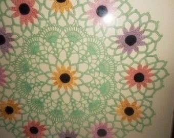 Vintage Linen Framed Doiley Framed Crochet Wall Art