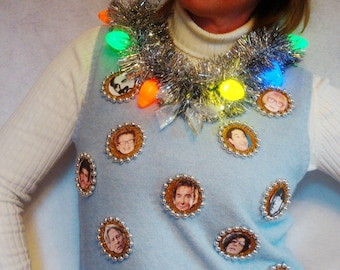 Celebrity UGLY Hanukkah Sweaters for Chanukkah Light Up Jewish Faces Xmas Christmas Party Vest Gold. Blue Photo Humor Jumper - Size S M L