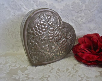 """Heart Trinket Box Brass Larger Size 5"""" Across 2"""" High SHABBY CHIC Embellished Flowers and Grapes Repousse Vintage Made in India"""