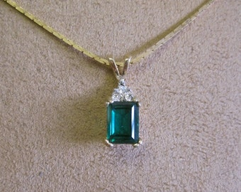 Faux Emerald Diamond Necklace Art Deco Gold Flat Chain Vintage 80s Prong Set High Emerald Cut New Old Stock Made in the USA Great Gift