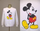 80s Mickey Mouse Sweatshirt White Post Punk Hipster Sweatshirt