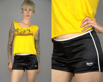 SALE 90s Mossimo Booty Shorts Hip Hugger Black Shiny HOT PANTS