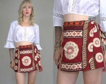 Vintage Hawaiian Skort Tiki Floral Rockabilly High Waisted Royal Creations Skirt Skort