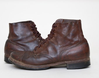 WWll Work Boots US Army Brown Leather Cap Toe Split Sole Leather Work Boots Mens 10