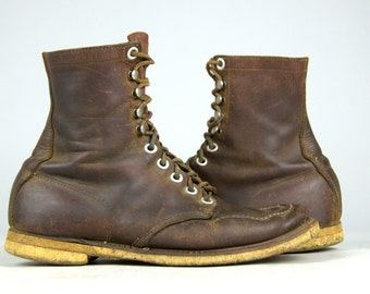 1950s Work Boots Brown Leather Lace Up American Work Wear Boots, Mens 9.5