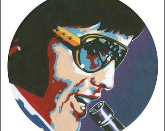 "Elvis. 12"" vinyl record painting"
