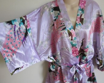 Kimono Robe Night gown sexy Lingerie silky parrot print lilac S M