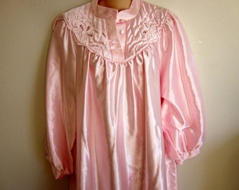 Pink cozy nightgown free bust bodice  brushed cotton inside. L