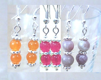 Orange, Lavender or Rose Jade & Silver Double Beaded Dangle Pierced Earrings, Handmade Original Fashion jewelry, Small Simple Classic Style