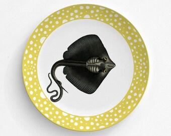 Melamine Plate - Black Stingray - Stingray Shark - Plate - Dinnerware - Melamine Dinner Plate - Vintage Sea life Print - decorative plate