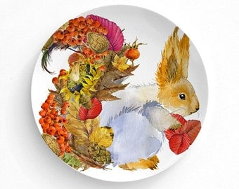 Melamine Plate, Plate, Decorative Plate, Plates, Wall Decor, Home Decor, Melamine Dinner plate, Animals, Thanksgiving Decor, Pumpkin, Fall