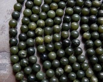 8mm Nephrite Jade Round Polished Semi Precious Gemstone Beads, Half Strand (IND1C37)