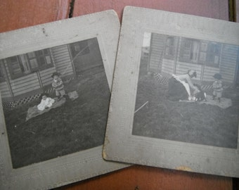 Antique Mounted Photos - Mom Children and Dog Sitting On Blanket on the Lawn