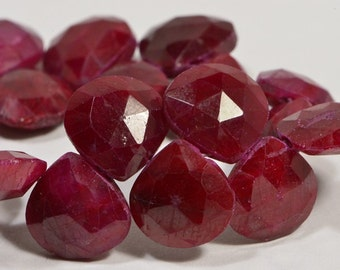 Ruby 10x10x4.6mm 2 Beads Natural  Faceted Teardrop Beads Natural Gemstone Beads Jewelry Making Supplies