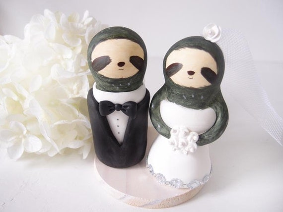 Custom Wedding Cake Toppers - Love Sloth with base