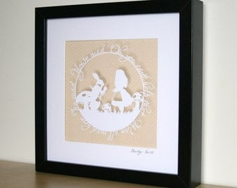 We're All Mad Here Papercut Print • Alice in Wonderland  • Fairytale Wall Art • Paper Cut Quote