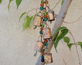 SALE: Colorful Mini Temple Bells on Brass Chain