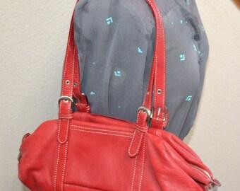 Vintage 80s Tignanello red genuine leather purse double strap shoulder bag purse Organizer handbag  gift for her