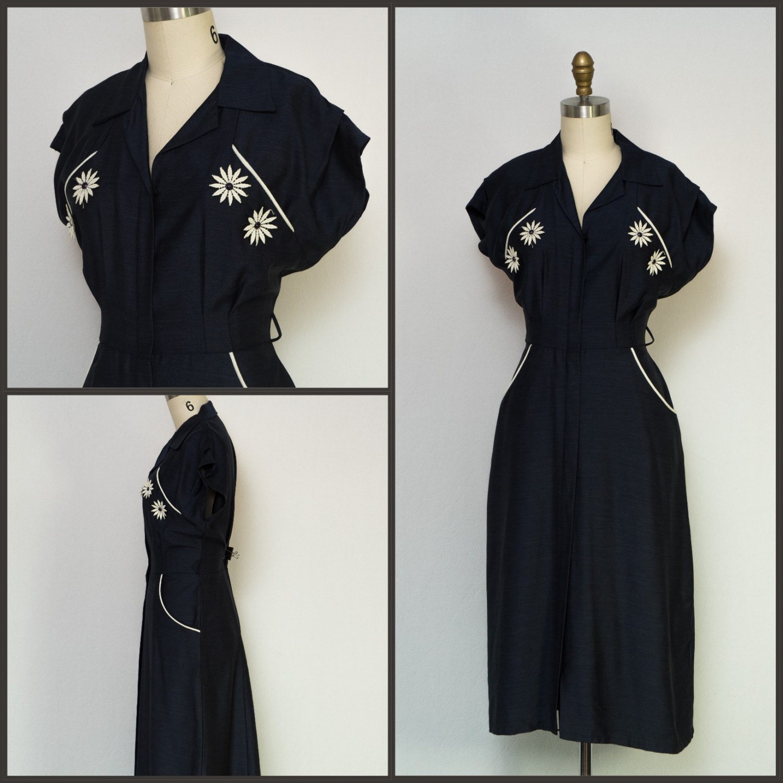 1950s dress 50s dress 60s dress wiggle dress navy blue