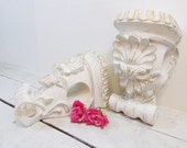 Vintage Corbel Curtain Scarf Holder ARCHITECTURAL SHELF SET Shabby White and Gold