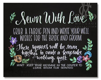 Wedding quilt printable, Sewn With Love, chalkboard style drawing, instant digital download
