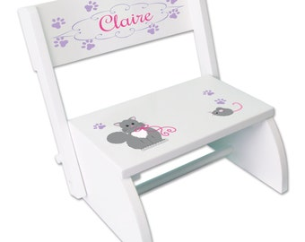Personalized Kitty Cat Stool Girls Custom STEP Stool with Cats Kitten Kids Chair Kids Stepping Stool  sc 1 st  Etsy & Personalized STEP Stool for Girlu0027s Custom Stepping Stools islam-shia.org
