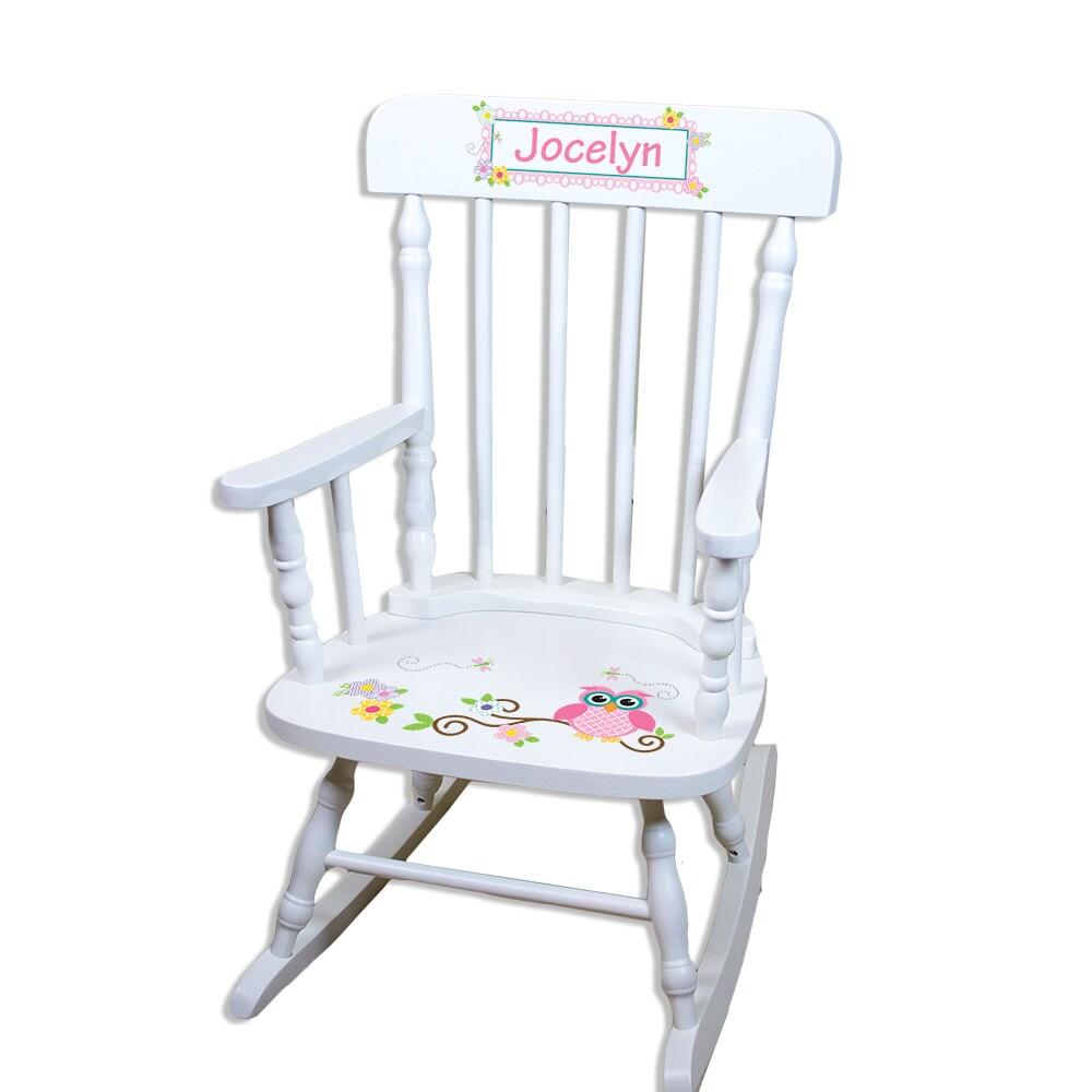 Personalized Rocking Chair w Owl boys girls Custom Childs