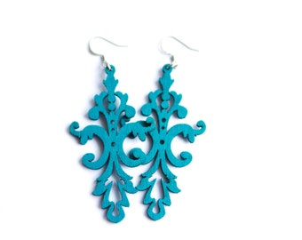 Pretty Teal Wooden Dangles
