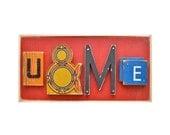 valentine gift, nursery decor, wood letters, U&ME, wooden sign, love art assemblage, by Elizabeth Rosen
