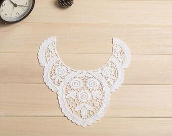 cotton lace Collar, cotton collar applique, doily lace collar