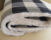 crib blanket - baby blanket - buffalo check crib bedding - baby bedding - cream black woodland nursery bedding