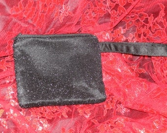 Black Zip Clutch Purse with handle