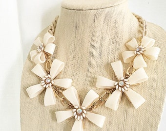Magnolia Statement Necklace Chunky Cream Flower Acrylic Blooms Necklace Textured Chain