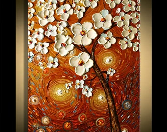 Painting on canvas Reaching for Sun Oil landscape tree art By Paula Nizamas - Original ready to hang