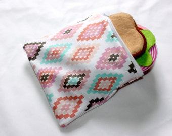 "Reusable sandwich bag, snack bag in navaho diamond print 7""x6.5"""