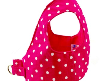 Hot Pink Fuchsia Polka Dot Dog Step In Harness