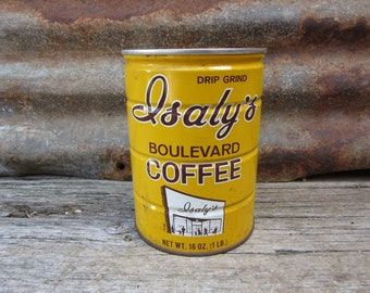Very Rare Vintage Metal Coffee Can Isaly's Boulevard Container Storage Display Country Farm Retro Kitchen Rustic Primitive Vtg Old Tin Can