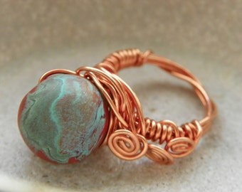 Handmade Wire-Wrapped Copper Ring