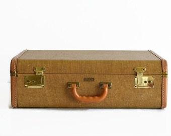 vintage golden brown tweed suitcase with key 1940s luggage