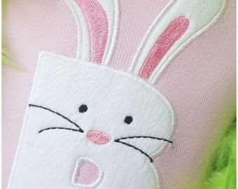 Bunny Letter or Number of your choice Applique Embroidered Patch , Sew or Iron on