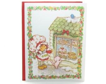 Strawberry Shortcake Christmas Card with Custard and Bakery Window