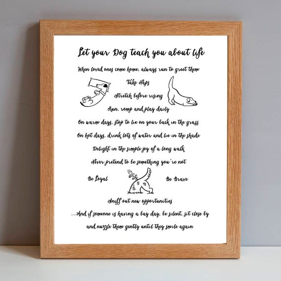 Dog Gift Print Dog Rules Of Life Dog Lovers Birthday Gift