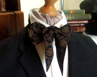 Victorian Bow Tie Cravat Ascot in Black and Dark Beige Patterned 100% Cotton