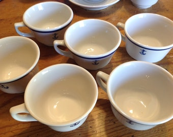 6 WWII US Navy Informal Coffee Cup, Fouled Anchor Insignia, Naval China, by makers Homer Laughlin, Shenanago, Jackson Custom China sold each
