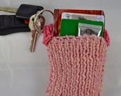 Pink Key Ring Pouch, Knitted Key Ring Pocket, Light Pink Keychain, Key Fob Wallet, Key Chain Tea Tote, Valentines Gift for Her